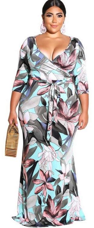 Dlouhé společenské maxi šaty s květinovým potiskem
