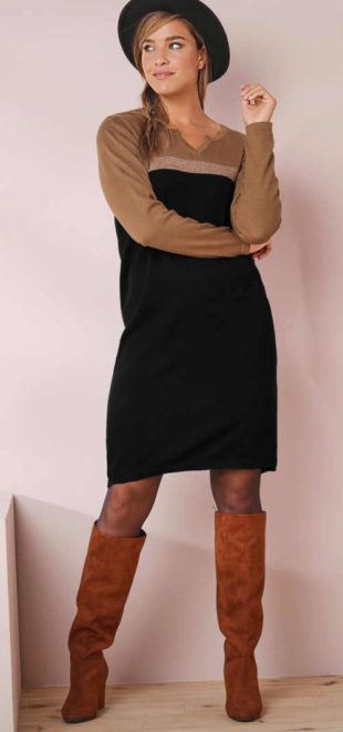 Hnědo-černé dámské úpletové šaty Blancheporte