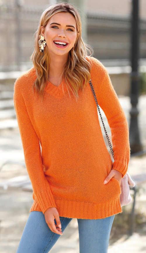 Jednobarevný dámský svetr s kapsami