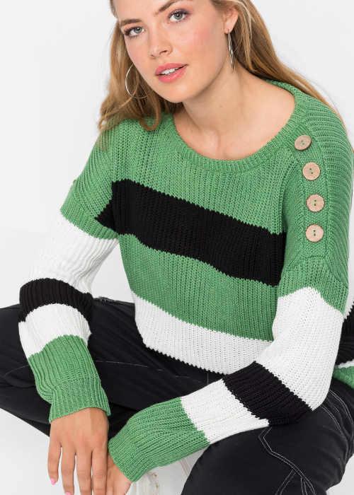 Pletený dámský svetr s knoflíky na ramenu