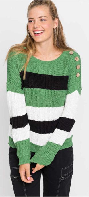 Pruhovaný dámský svetr s knoflíky na ramenu