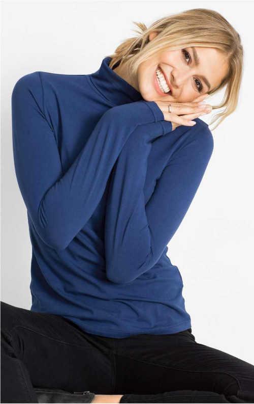 Strečové dámské triko s rolákovým límcem
