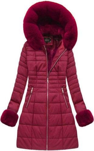 Teplá delší fialová prošívaná zimní bunda s kapucí