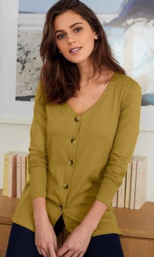 Tričko s dlouhými rukávy a knoflíkovým propínáním