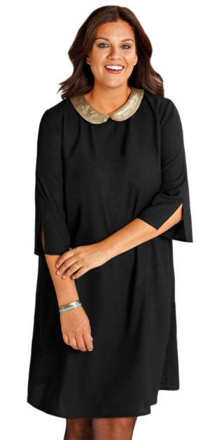 Volné černé dámské šaty s flitrovým límečkem