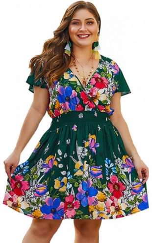 Zelené květinové letní šaty pro plnoštíhlé