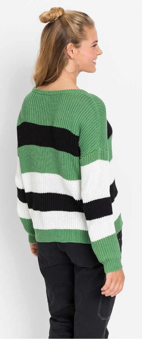 Zeleno černo bílý pruhovaný dámský svetr