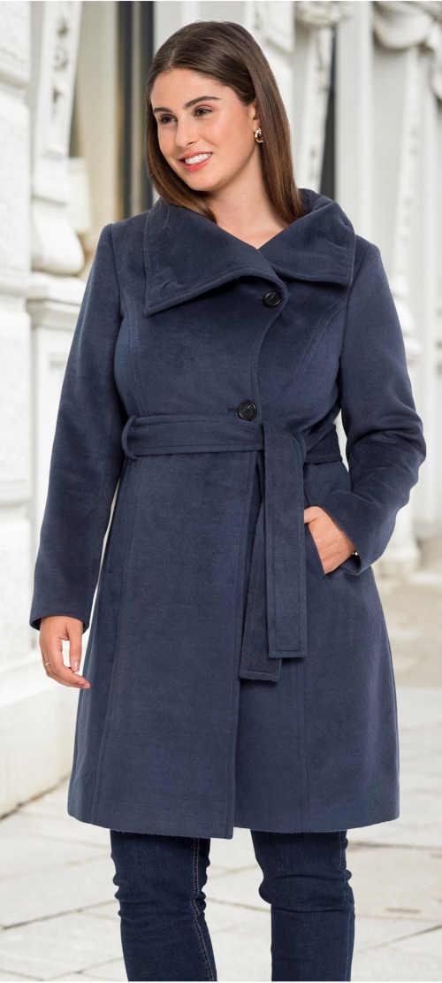 Zimní kabát ke kolenům s průhmatovými kapsami