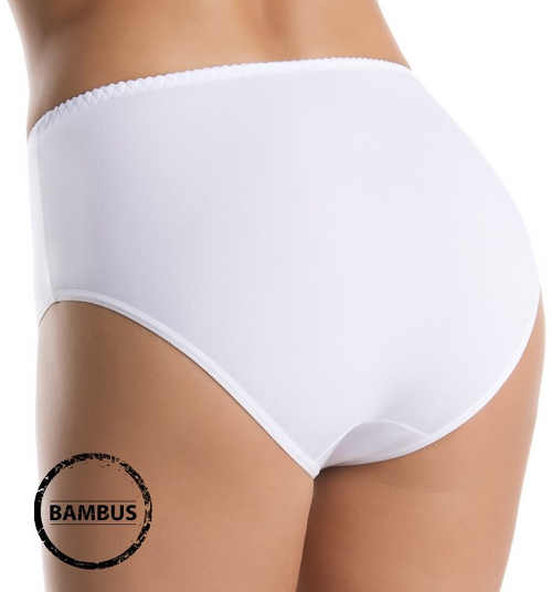Bílé dámské bambusové kalhotky s vyšším pasem