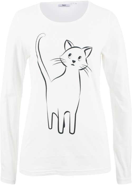 Bílé dámské tričko s kočkou