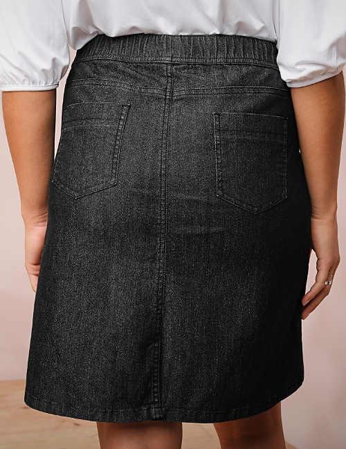 Černá džínová sukně s kapsami a gumou v pase