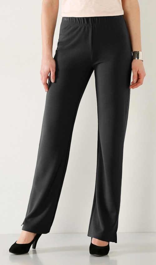 Černé úpletové kalhoty s pohodlnou gumou v pase