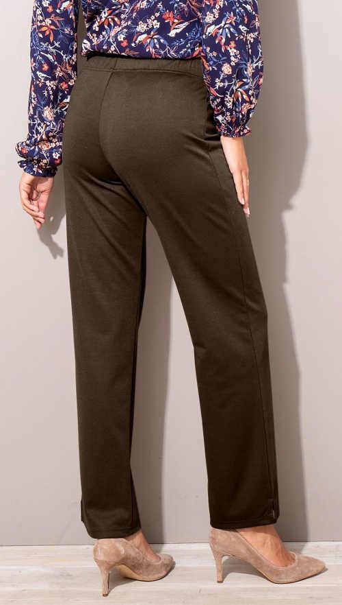 Hnědé legínové kalhoty z pohodlného úpletu