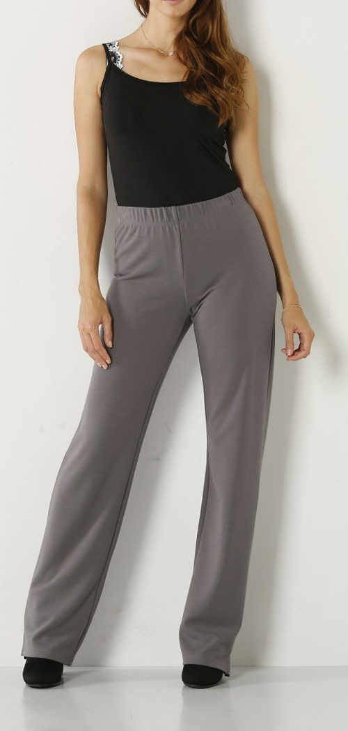 Šedé úpletové kalhoty pro baculky