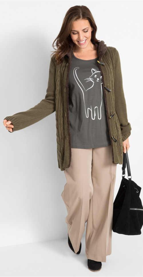 Tričko s kočkou ke svetru
