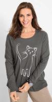 Bavlněné nadměrné dámské triko s potiskem koček