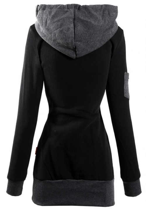 Černá mikinová dámská bunda s šedou kapucí