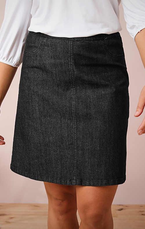 Černá riflová sukně pro baculky