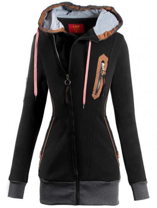 Černá tepláková dámská bunda s kapucí
