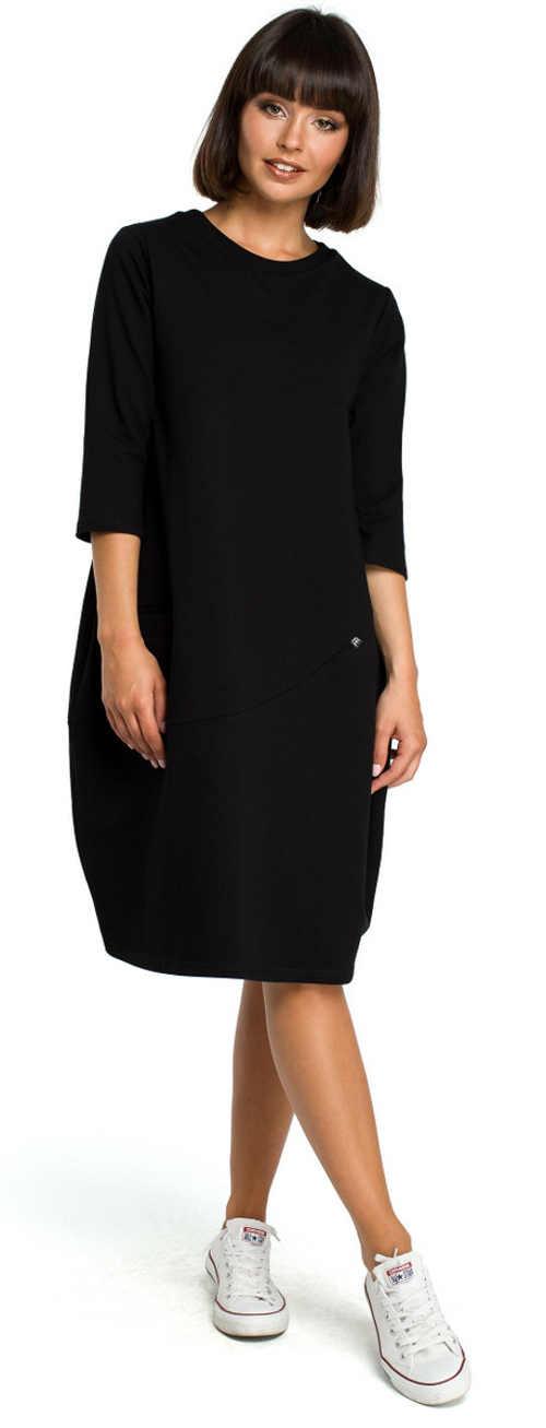 Černé dámské šaty ke kolenům balonového střihu