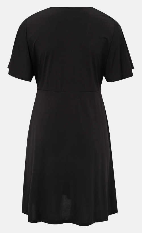 Černé společenské XXL šaty s krátkým rukávem