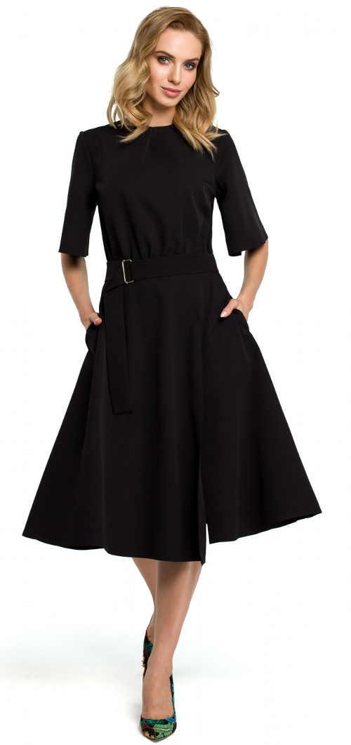 Černé společenské šaty pro plnější tvary s širokou sukní