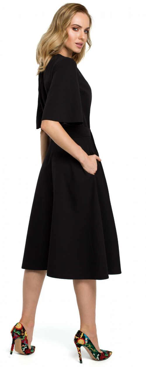 Černé večerní dámské šaty s kapsami