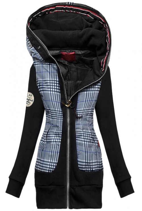 Černošedá zateplená mikinová bunda s kapucí