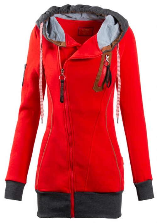 Červená dámská mikina s asymetrickým zapínáním