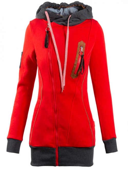 Červená tepláková bunda s teplou podšívkou