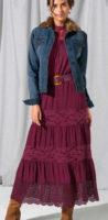Dlouhá fialová dámská maxi sukně s krajkou