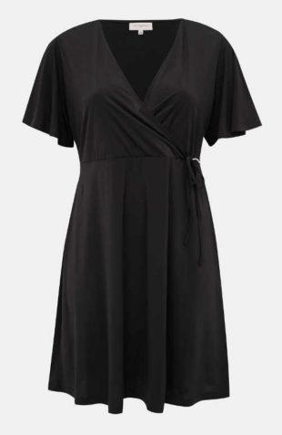 Jednobarevné černé šaty zavinovacího střihu