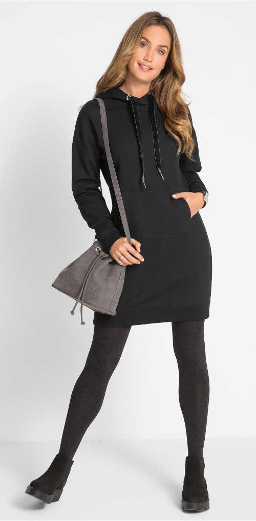 Jednobarevné černé volnočasové dámské šaty na zimu