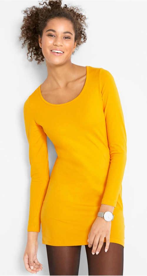 Kanárkově žluté strečové dámské minišaty s dlouhými rukávy