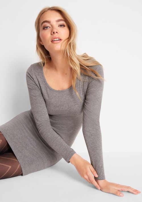 Levné šedé bavlněné dámské šaty Bonprix