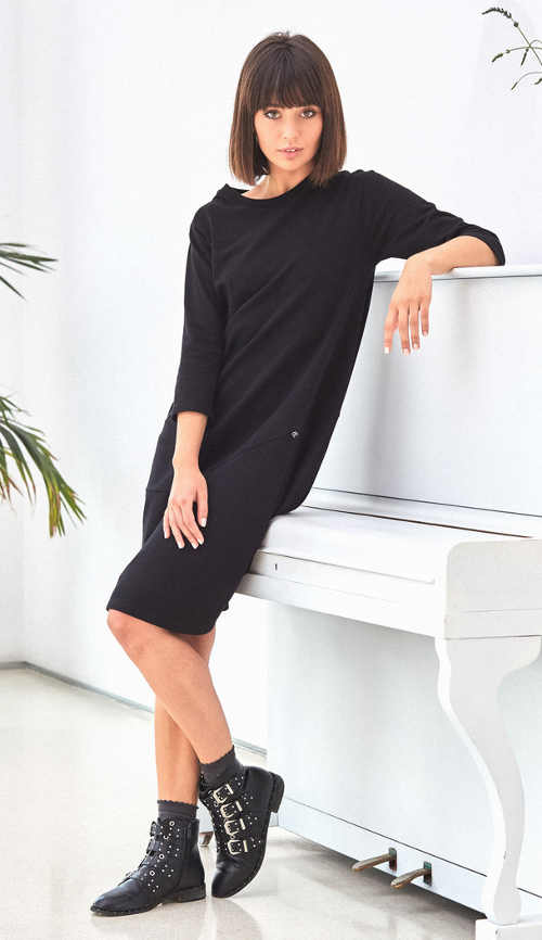 Ležérní černé dámské šaty s tříčtvrtečním rukávem