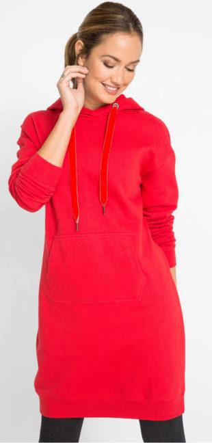 Mikinové teplákové šaty pro plnoštíhlé