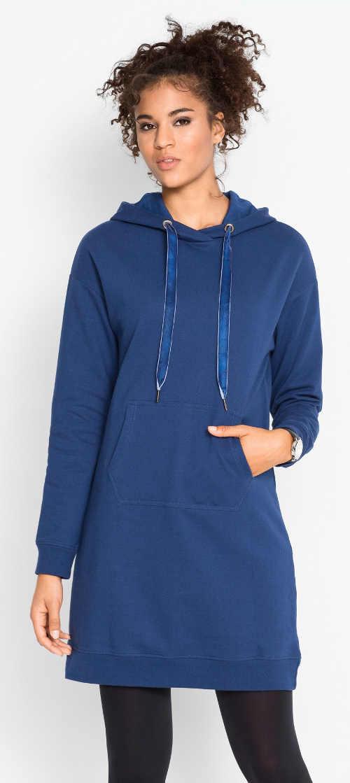 Modré mikinové dámské šaty s klokaní kapsou