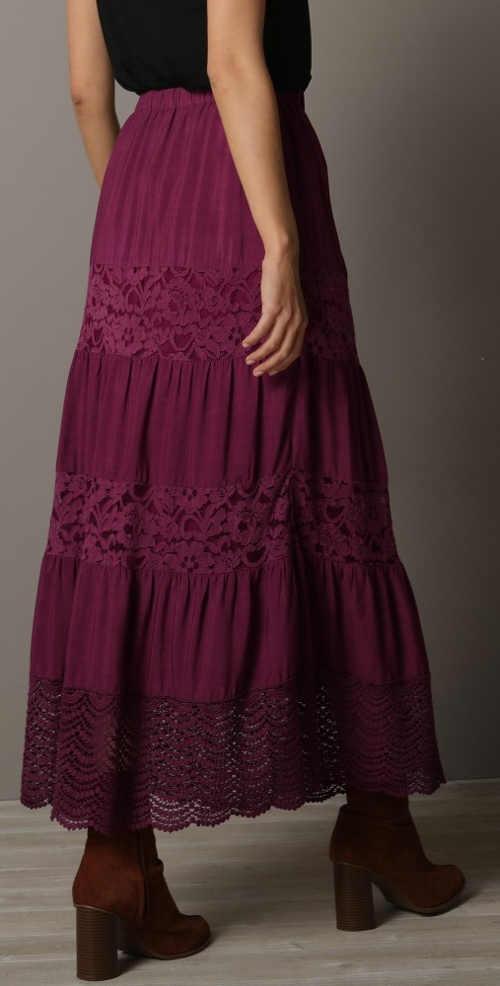 Podzimní a zimní dlouhá dámská krajková sukně
