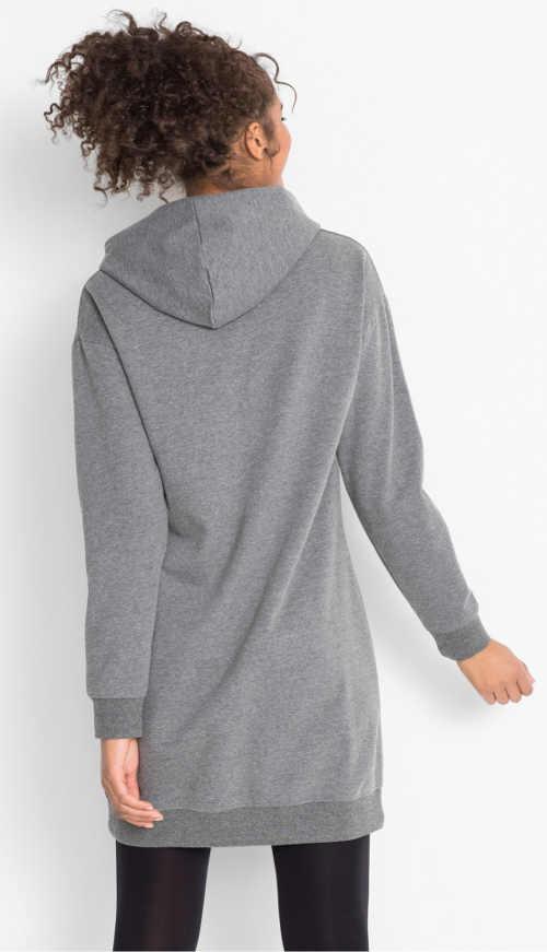 Šedé mikinové dámské šaty s kapucí