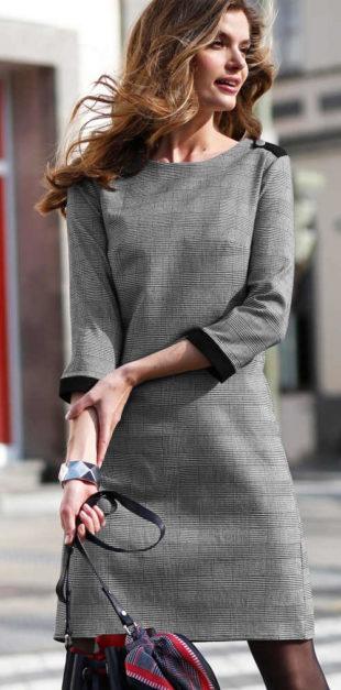 Šedé výprodejové dámské šaty Blancheporte drobnou kostičkou