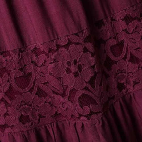 Vínová dámská sukně s krajkovými vsadkami