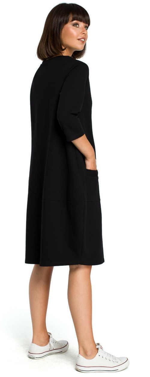Volné černé dámské šaty s kapsami