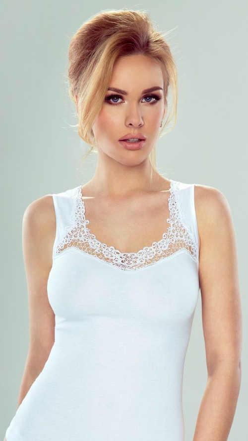 Bílá dámská bavlněná košilka s výšivkou