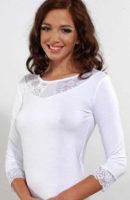 Bílé dámské tričko s krajkou a tříčtvrtečními rukávy
