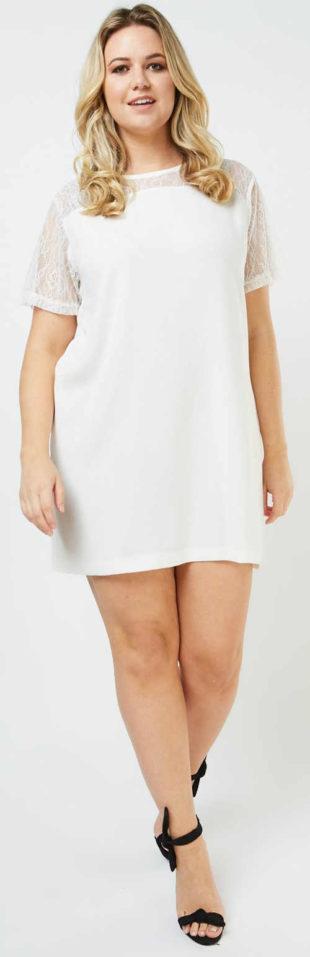 Bílé letní šaty pro plnoštíhlé rovného střihu