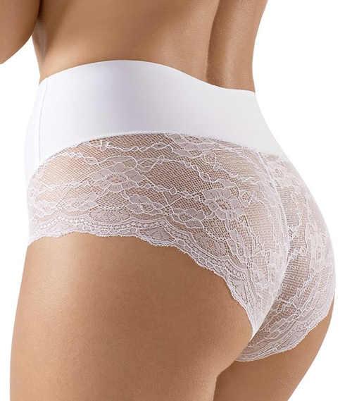 Bílé stahovací kalhotky z průsvitné krajky