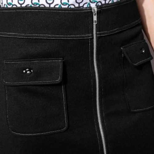 Celorozpínací zip na přední straně sukně