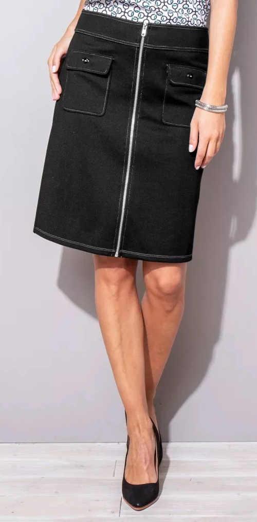 Černá rovná sukně s kapsami a zipem na přední straně
