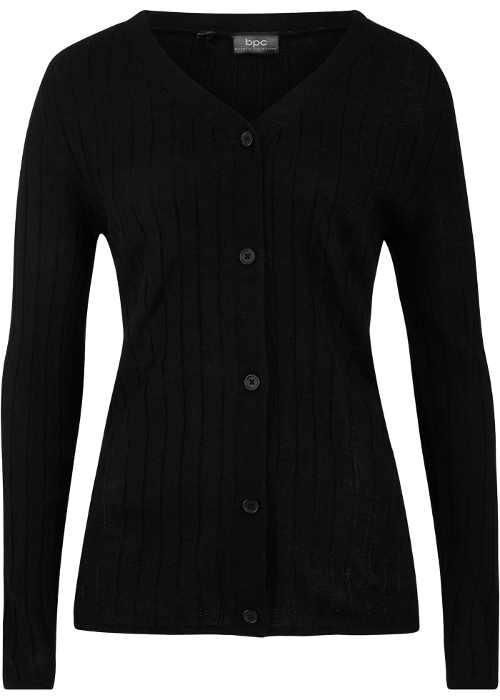 Černý dámský svetr se zapínáním na knoflíky